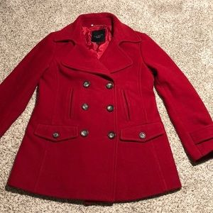 Talbots Red Wool Peacoat